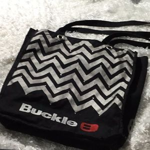 Buckle store embroidered tote bag